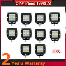 10X 24W LED FLOOD Work Light Square Hummer Front Car UTB Truck Chevy 4x4 IP67