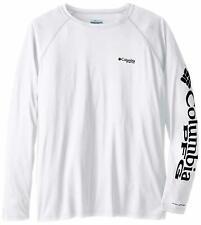 Columbia Men's PFG Terminal Tackle Long Sleeve Tee , White/Nightshade Logo, Larg