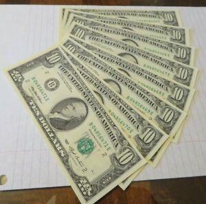 (8) CONSECUTIVE B 1993 $10 BILLS FRN'S NEW YORK NY GEM UNCIRCULATED