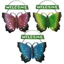 Garden - Welcome Hanging Sign / Plaque - Metal Glitter Butterfly - Random Colour