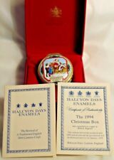 1994 Halcyon Days Enamel Santa Christmas Box - In The Box W/ Certificate Mint