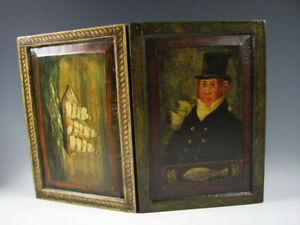 W.C. Wrede or Peter Ompir Folk Art Hand Painted Wood Chalk Board