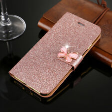 Bling Glitter Leather Magnetic Flip Wallet Cute Cover Case For iPhone X 8 7 6 5s