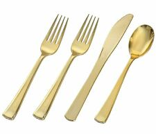 Adorn Plastic gold cutlery set for 25 pepole, Includes 50 gold forks, 25 gold sp