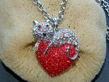 lange Kette Fb. Silber mit XXL 3D Anhänger Katze mit rotem Herz Straß Halskette