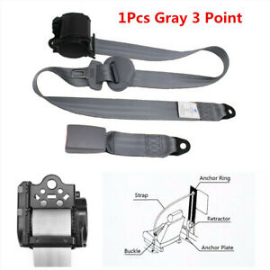 Automatic Retractable 3 Point Safety Seat Belt Lap Buckle Kits Fit For Car Truck