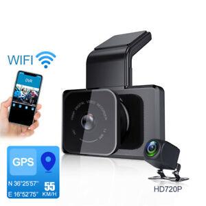 3'' HD 1080P Dual Lens GPS Car DVR Rearview Mirror Dash Cam Recorder Camera Kit