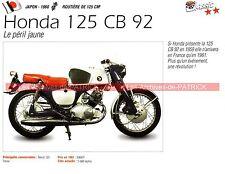 HONDA 125 CB 92  ( CB92 ) 1960 Fiche Moto 000179