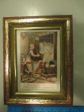 """c1890s Framed Van Houten's Cocoa Advertising Trade Card sign Hindeloopen 4x6"""""""