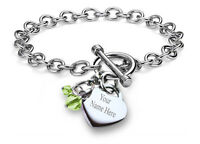 Personalized Name Customized Birthstone Charm Bracelet Chain Stainless Steel
