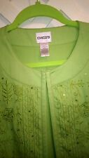 CHICO'S GREEN COTTON EMBROIDERED/SEQUIN TRIM OPEN JACKET 2 OR L