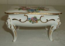 Limoges Floral Gold Trim Footed Trinket Powder Box Dresser Jar   Made in France