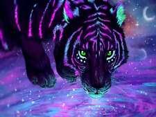 5D Full Drill Diamond Painting Diy Rhinestone Art Purple Tigers Pictures Decor
