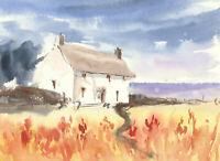 John A. Case - Double Sided Contemporary Watercolour, Landscape Cottage Study