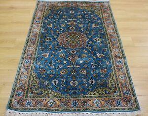 Blue Persian Oriental Kashmir Hand Knotted Silk Rug Carpet, Floor Room Handmade