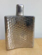 Vintage SILVER FLASK Tin Lined Hammered Metal Made in West Germany 8 Oz.