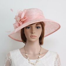 New Woman Church Kentucky Derby Wedding Cocktail Party Sinamay Dress Hat 37PInk