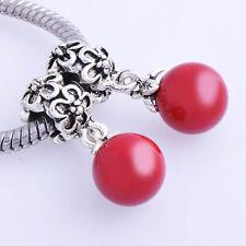 2pcs Silver Filled Red Pearl Ball Dangle Charm Bead For Snake Womens Bracelet