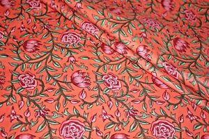 Coral Peach 100%Cotton Batik Hand Block Printed Dress Material Craft Fabric