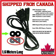 Power Cable Cord 2-Prong 8 Style For PS2 PS3 PS4 XBox Dreamcast Projector Stereo