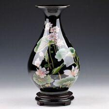 Oriental Chinese Hand-painted Black Lotus Flowers Drop Shape Vase N