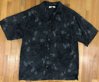 Tommy Bahama Mens Shirt 100% Silk Button Front Size L Gray Black Floral Hawaiian