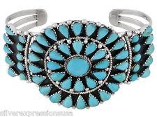 Genuine Kingman Turquoise 925 Sterling Silver Cluster Cuff Bracelet