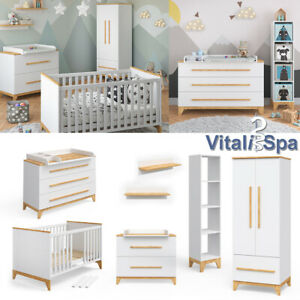 VITALISPA Babymöbel Set MALIA Babybett Kinderbett Kleiderschrank Wickelkommode