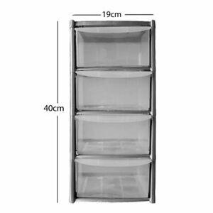 4 Drawer Plastic Storage Mini Tower 19L Clear & Grey Home Office 26x19x40cm
