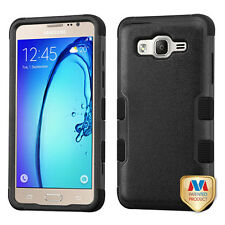 for Samsung Galaxy On5 PHONE BLACK TUFF HYBRID RUBBERIZED SKIN COVER CASE