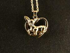 Kette mit Anhänger 24 Karat Gold HUND Chihuahua Dog Herz Halskette Süß