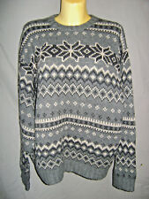 J Crew Men's 100% Wool Fair Isle Nordic Sweater Size L Large