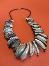 """Abalone Mother of Pearl Shell Necklace w/ Black Bead Strand 24-1/4"""""""
