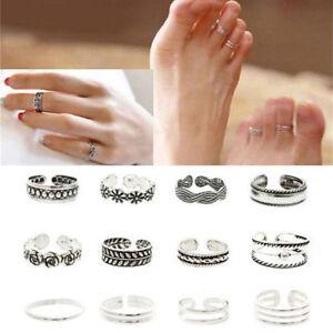12pcs set Adjustable Open Toe Ring Celebrity Jewelry Retro Silver Finger Foot UK