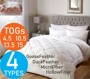 LUXURY HOTEL QUALITY GOOSE/DUCK FEATHER & DOWN DUVET MICROFIBER QUILT ALL TOGS