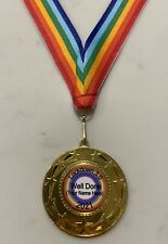 Personalised Lockdown 2021 Well Done Medal 50mm Metal Medal + Rainbow Ribbon