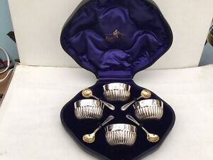 Excellent Antique Boxed Set of Solid Silver Salts And Spoons, Mappin & Webb 1903