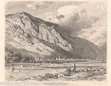 Antique print Switzerland Felsberg Calanda rocks Graubünden holzstich 1879