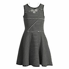 NWT Emily West Bow Back Striped Skater Dress with Necklace size 10