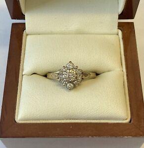 "'9ct Yellow Gold & Diamond Daisy Cluster Ring"""