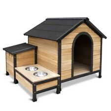 Dog Kennel Pet House Wooden Timber Cabin Bed Porch Deck Patio W/ Food Bowls
