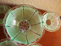 VINTAGE FRENCH URANIUM VASELINE GLASS LG BOWL 4 SMALL DISHES DECO OPAQUE CLEAR