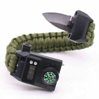 Outdoor Camping Survival Emergency Gear Paracord Knife Compass Bracelet Watch