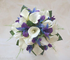 """Blue Purple orchids, calla lily & rose """"real touch""""  Bridal Bouquet flower set"""