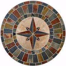 "43"" NATURAL Slate Compass Rose Design Mosaic Tile Medallion for Floor Flooring"