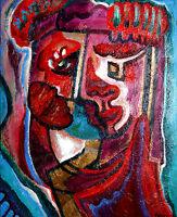 Bild 50x60*Zu Zweit*Abstrakt Öl Leinwand Porträt Erotik Handgemalt Unikat 2007