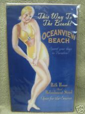 Oceanview Beach Home Decor Tin Metal Sign Ocean Bath House