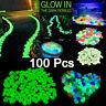 New 100x Glow In The Dark Stones Pebbles Rock Fish Tank Aquarium Garden Walkway