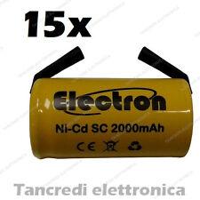 15 PEZZI BATTERIA RICARICABILE NI-CD SC 1,2V 2000mAh 22x42mm A SALDARE 30/307