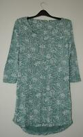NEW EX FAT FACE UK SIZE 8 GREEN CREAM FLORAL LEAFY PRINT JERSEY TUNIC TOP